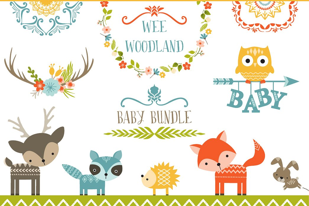Woodland Baby Shower Clipart.