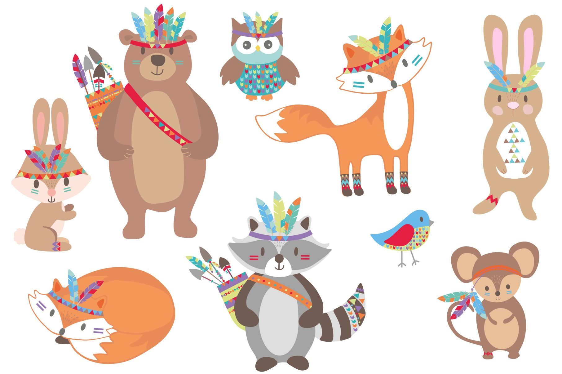 Tribal Woodland Animals Clipart.