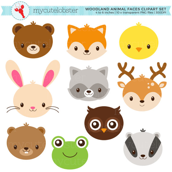 Woodland Animal Faces Clipart Set.