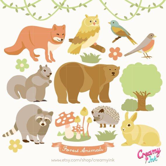Forest Animals Digital Vector Clip art / Woodland Animal.