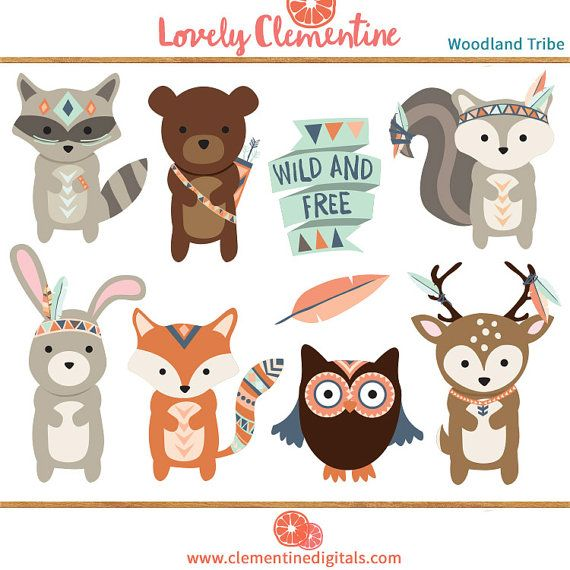 Woodland clip art images, fox clipart, tribal clip art.