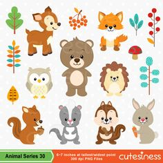 Cute woodland rabbit clipart.