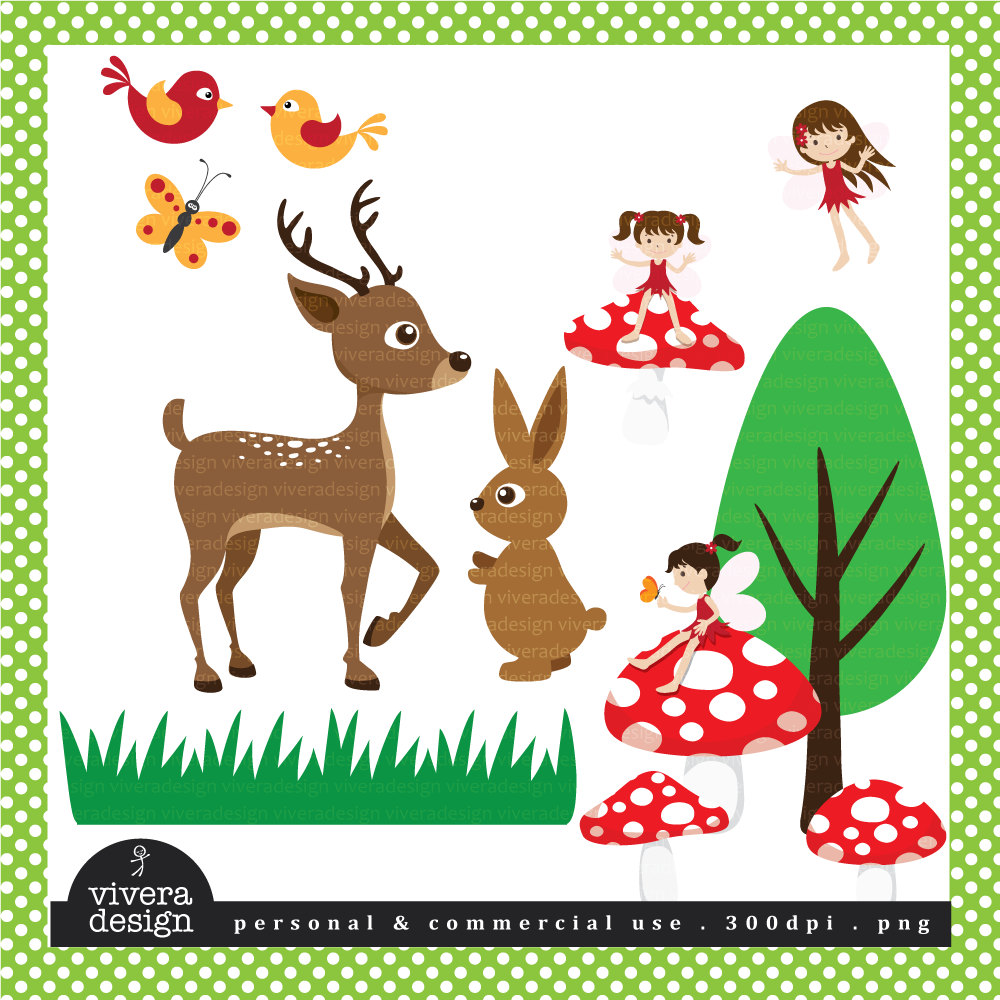 Woodlands Fairies and Animals Digital Clip Art by viveradesign.