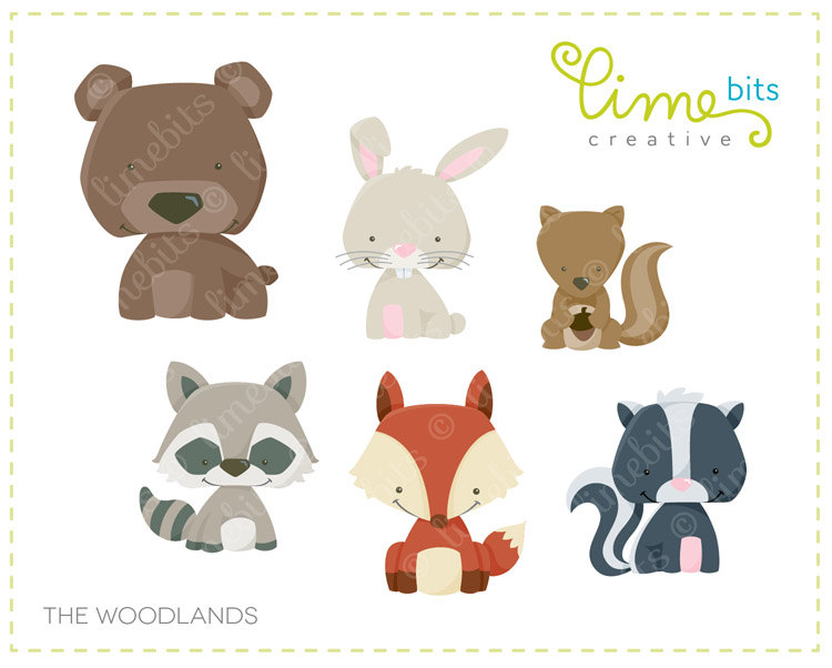 Cute woodland rabbit clipart.