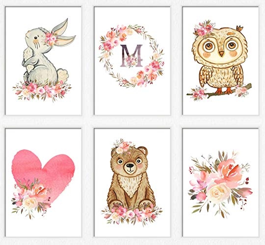 Amazon.com: Woodland nursery art girl Pink woodland animals.