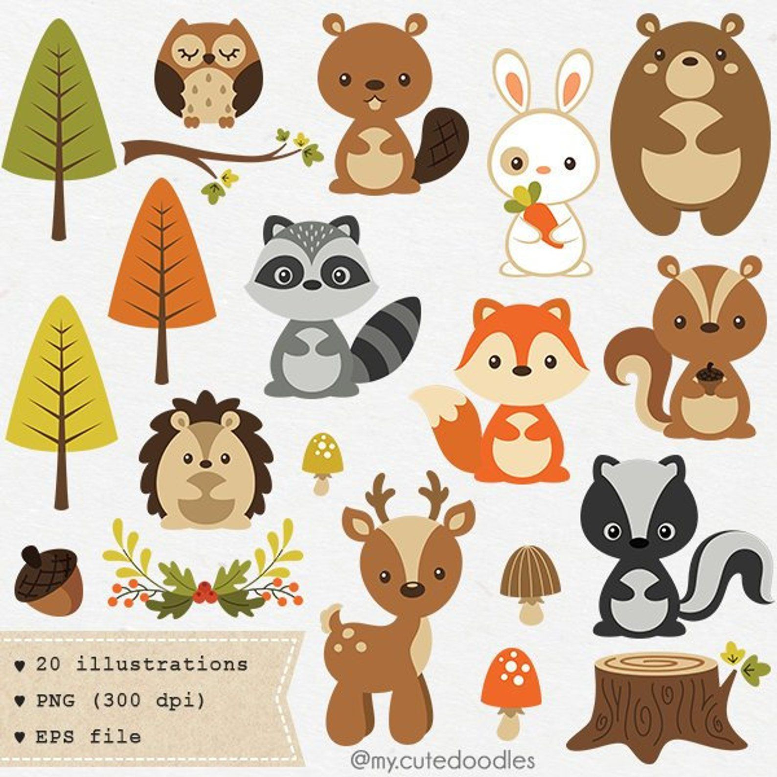 Woodland clipart cute woodland animal woodland nursery baby.