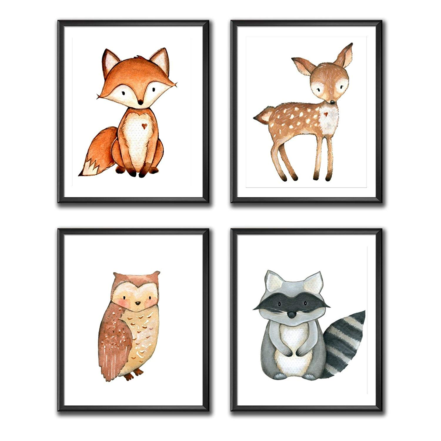 Woodland Nursery Decor, Woodland Creatures, Set of 4, Woodland Nursery  Print Set, Prints only Frame not included.