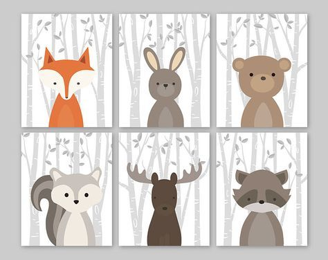 Baby Nursery Art Woodland Nursery Animals Baby Room Decor.