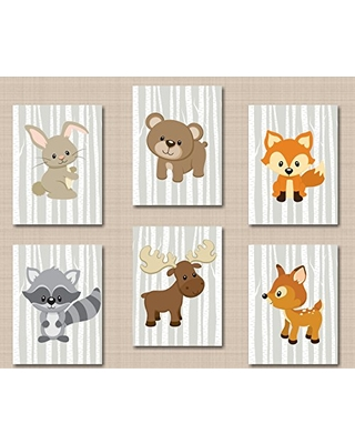 Sweet Blooms Decor Woodland Nursery Decor,Woodland Nursery Wall Art  Woodland Gray Baby Room Woodland Tales Fox Bear Deer raccoon Moose Bunny  Wall.