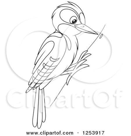 Clipart of a Black and White Woodpecker Bird on a Tree.