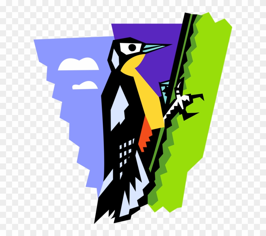 Vector Illustration Of Woodpecker Bird On Tree.