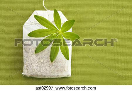 Picture of Tea bag and woodruff leaf asf02997.