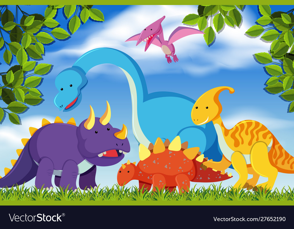 Dinosaurs in woods scene.