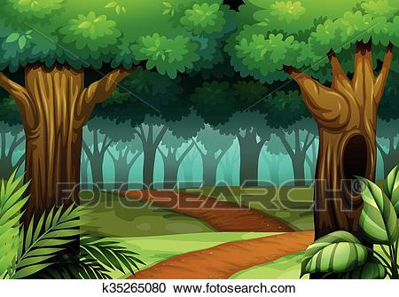 Forest scene with trail in the woods Clipart.