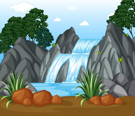 Background scene with waterfall in the woods.