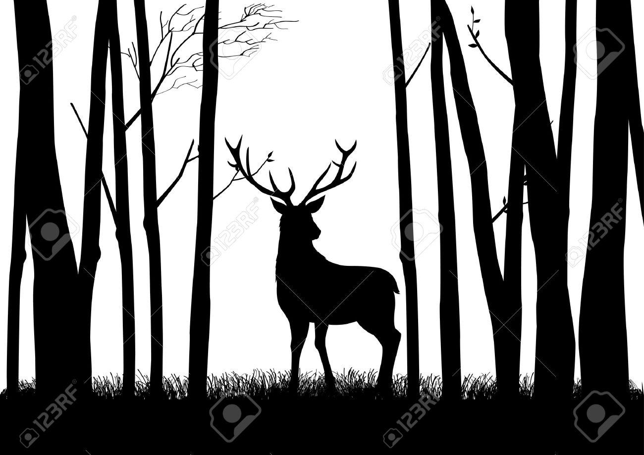 Deer In The Woods Silhouette.