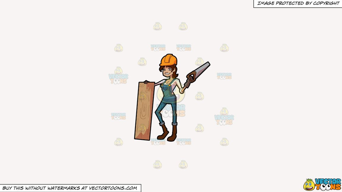 Clipart: A Female Construction Worker Poses With A Slab Of Wood And Saw on  a Solid White Smoke F7F4F3 Background.