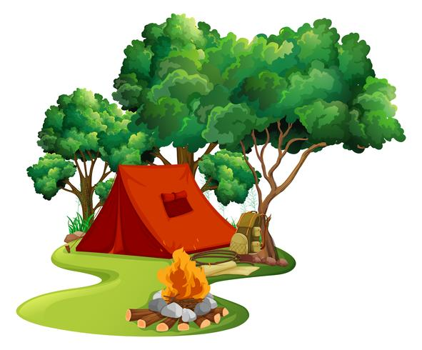 Scene with red tent in the woods.