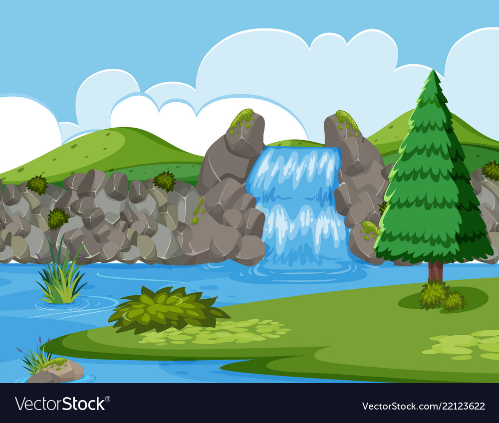 Waterfall river wood scene.