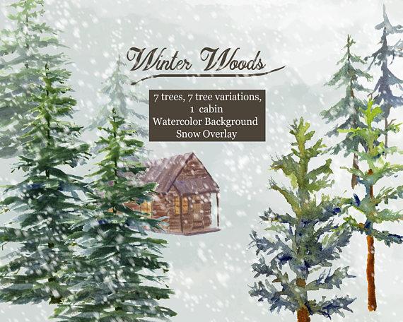 Winter Woods Watercolor Clip Art, Pine trees, Snow, Log.