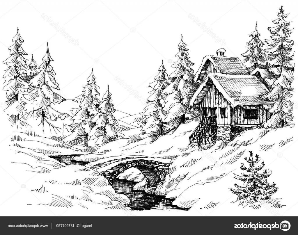 Best Cabin In The Woods Illustration Vector Drawing » Free.