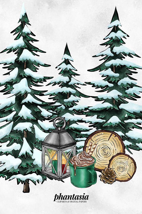 Lumberjack Fashion Cliparts, Winter Clip Arts, Plaid Pattern.