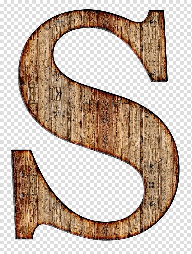Brown S letter , Wooden Capital Letter S transparent.