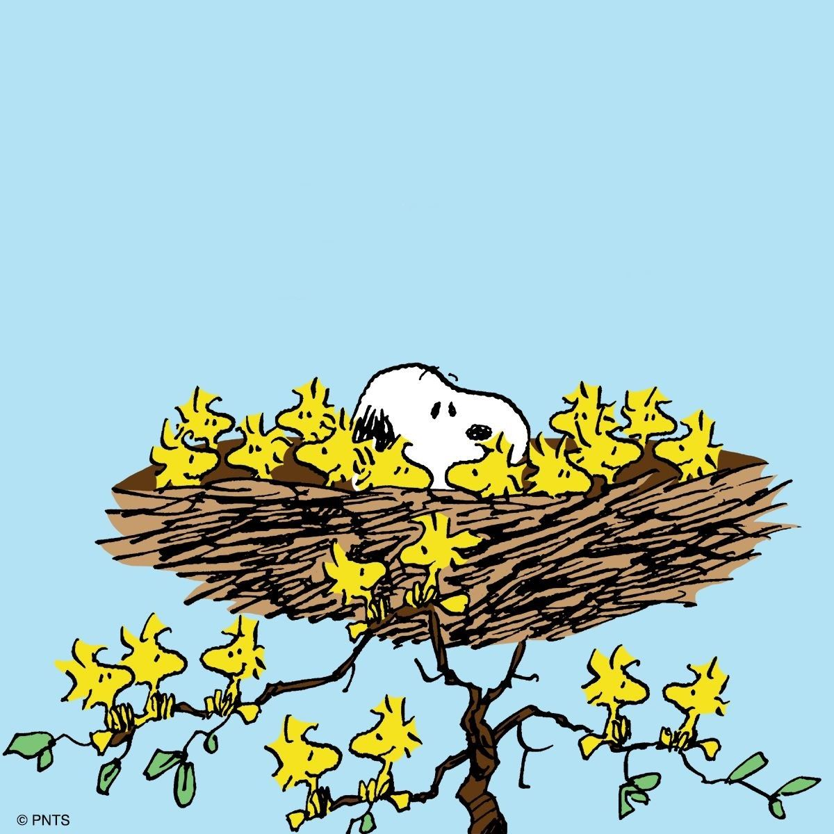 Snoopy, Woodstock and Friends Sleeping in a Giant Bird\'s.