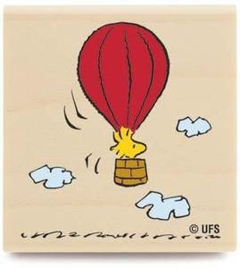 Peanuts Rubber Stamp HOT AIR BALLOON Snoopy D1088 :D.
