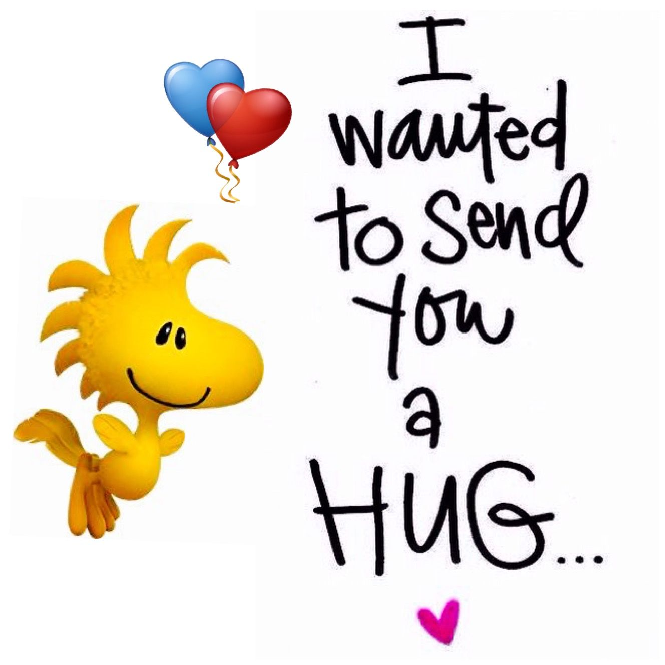I wanted to send you a hug. Woodstock 3D with heart balloons.