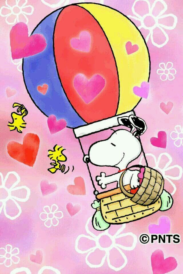Snoopy & Woodstock~Air balloon with hearts..