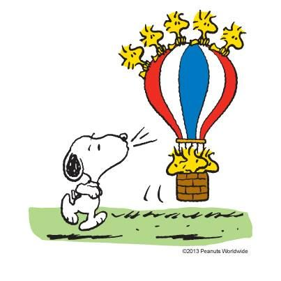 Snoopy Blowing Woodstock and Friends in Hot Air Balloon.