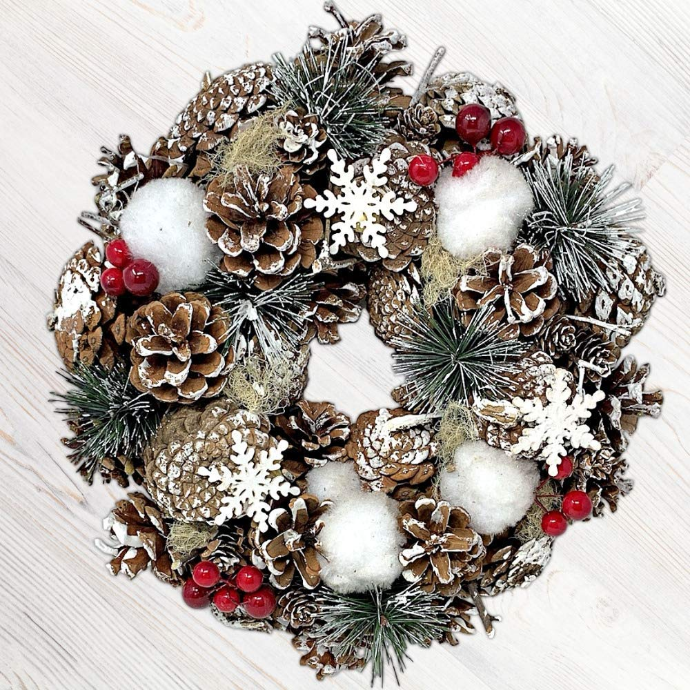 BANBERRY DESIGNS Woodsy Country Christmas Wreath with Snowy Pinecones,  Cotton, Pine, Red Berry.