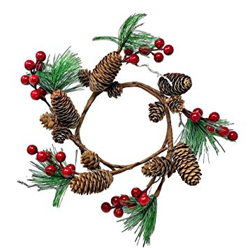 Amazon.com: Pinecones Pine Red Berries Wreath Candle Ring.