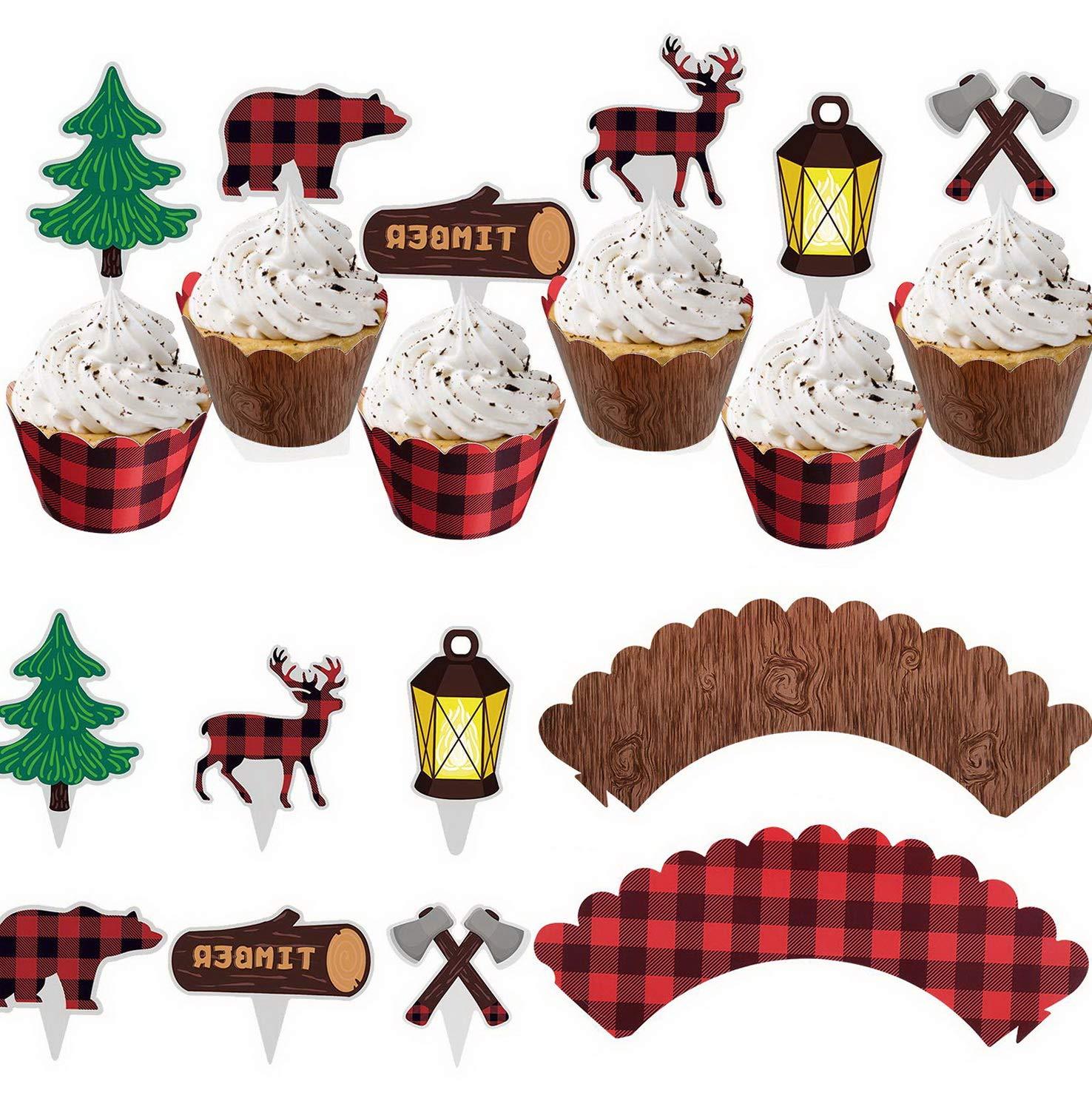 Amazon.com: Gatton 48Pcs Lumberjack Cupcake Toppers & Wood.