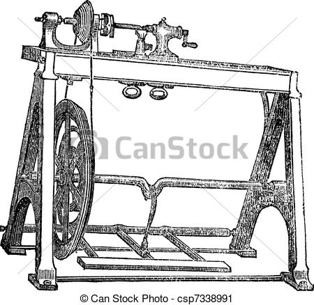 Vector Clip Art of Spindle Lathe Woodturning Machine, vintage.