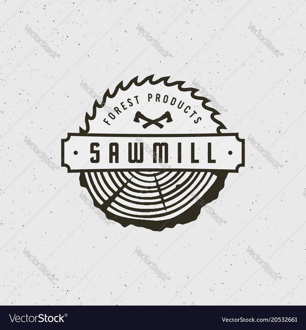 Sawmill logo retro styled woodwork emblem.