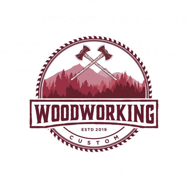 Woodworking logo vintage Vector.
