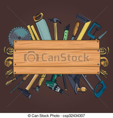 Vector Clipart of Carpentry woodworks background with Craft.