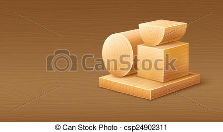 Vector Clip Art of Woodworks wooden workpieces blocks of various.