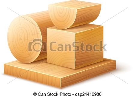 Vector of Woodworks wooden workpieces blocks of various forms.