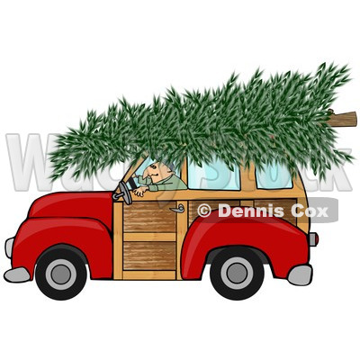 of a Man Driving a Red Woody Car with a Christmas Tree on the Roof.
