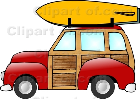 Picture of woody car with a surfboard on the roof rack..