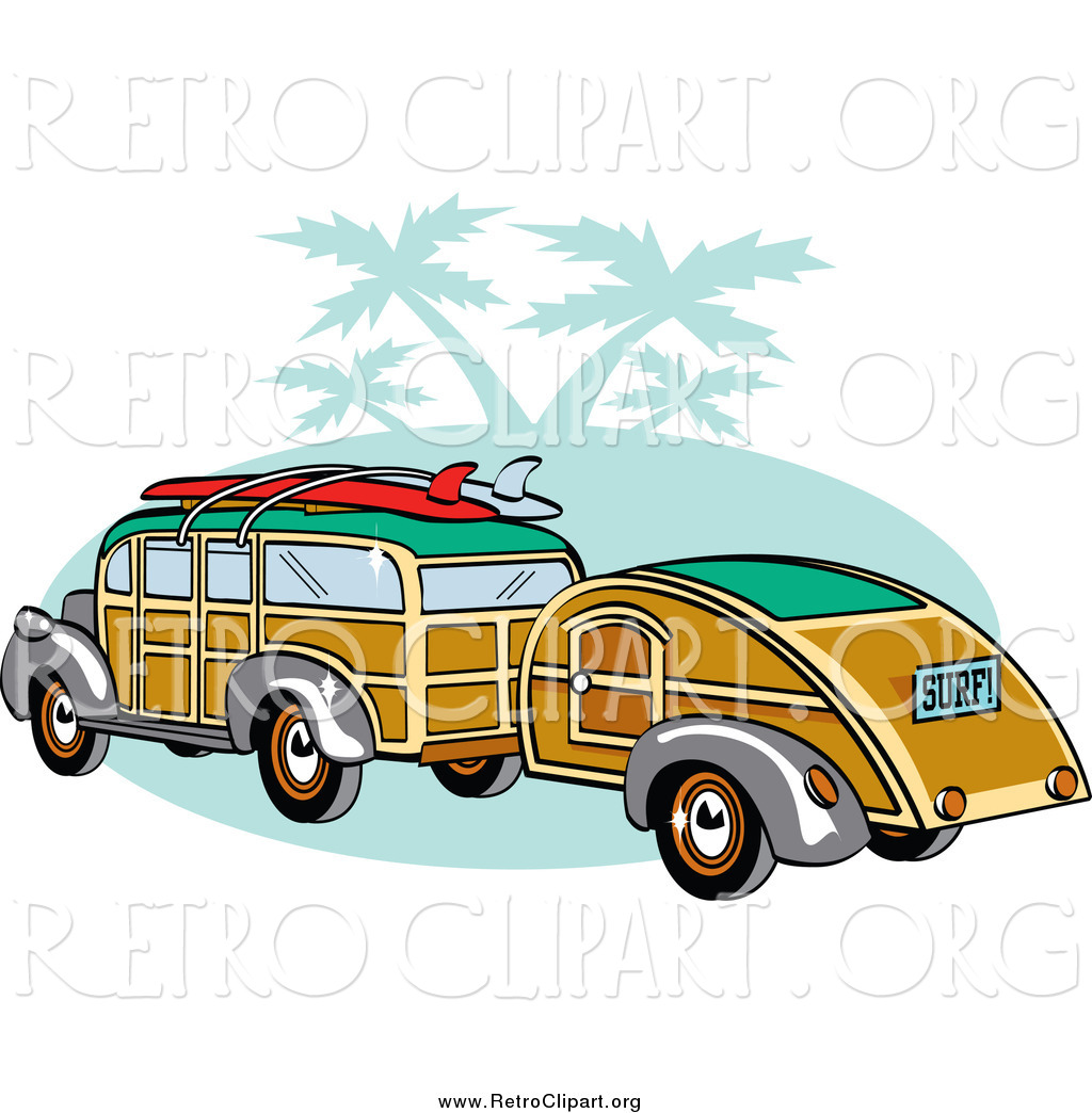 Clipart of a Woody Car with Surfboards on the Roof, Pulling a.