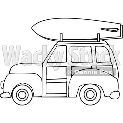 of a Black and White Woodie Station Wagon with a Surfboard on Top.