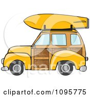 Clipart of a Cartoon Caucasian Man Driving a Red Woody Car.