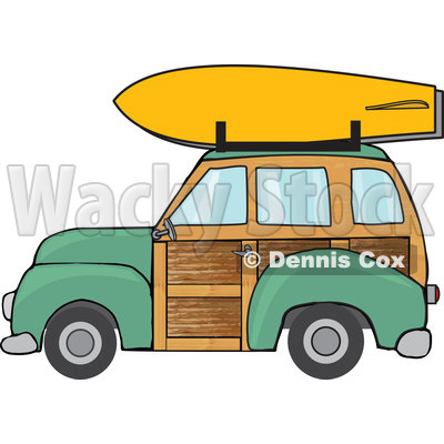 Clipart Green Woodie Station Wagon With A Surfboard On Top.