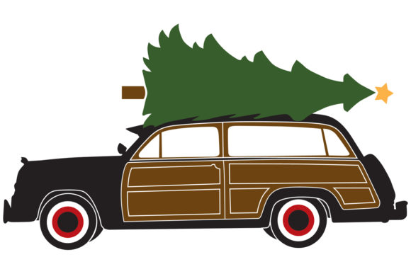 Woody / Surf Wagon with a Christmas Tree.