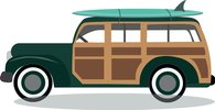 Woody Surf Wagon Clipart.