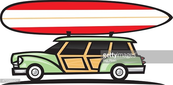 surf wagon woodie Clipart Image.
